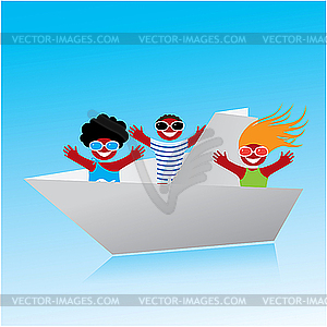 Origami-Boot mit Menschen - vektorisierte Abbildung