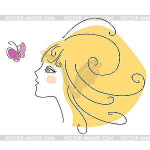 Mädchen und Schmetterling - Vektorgrafik