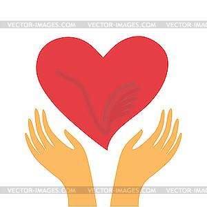 Herz in Händen - Vector-Illustration