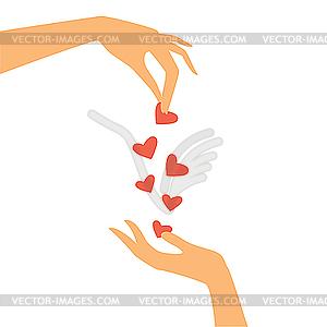Hände mit Herzen - Vektor-Abbildung