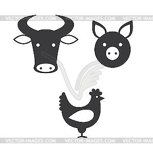 Ochse, Schwein und Huhn - Clipart-Design