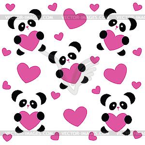 Liebes-Muster mit Panda - Vektor-Clipart / Vektorgrafik