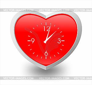 Herz als Uhr - farbige Vektorgrafik