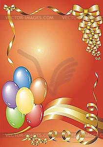 Glückwunschkarte mit Luftballons - vektorisiertes Clipart