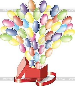 Luftballons fliegend aus einer Box - Vector-Clipart