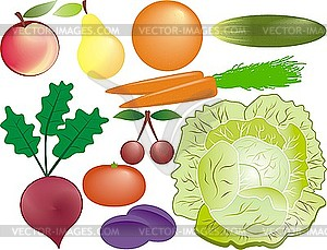 Фрукты и овощи - рисунок в векторе