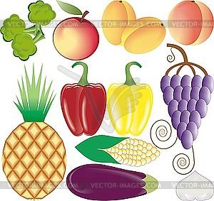 Obst und Gemüse - Vektor-Clipart