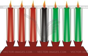 Sieben Kwanzaa-Kerzen - Vektor-Clipart