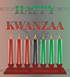 Sieben Kwanzaa-Kerzen - Vector Clip Art