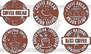 Set von Stempel - Kaffeepause - vektorisiertes Design