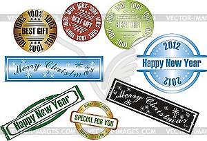 Neujahrs-Stempel - Stock Vektorgrafik