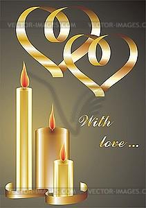 Glückwunschkarte mit Herzen und Kerzen - Vektor-Clipart / Vektorgrafik