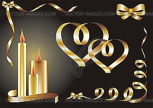 Glückwunschkarte mit Herzen und Kerzen - farbige Vektorgrafik