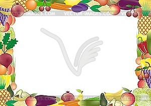 Rahmen aus Obst und Gemüse - Stock Vektor-Clipart