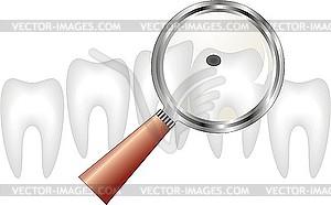 Zahn unter einer Lupe - Vector-Clipart / Vektorgrafik