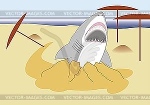 Hai mit offenem Mund kommt an den Strand - Vector-Clipart / Vektorgrafik