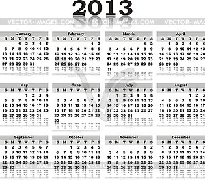 Black white calendar 2013 with reflection - vector image