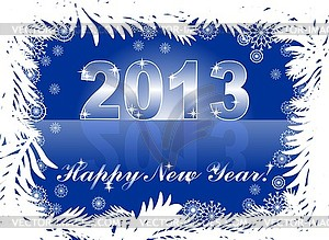 Christmas and new year card with 2013 on blue winter - color vector clipart