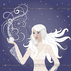 Schöne junge blonde Winter-Frau - Vektor-Clipart EPS