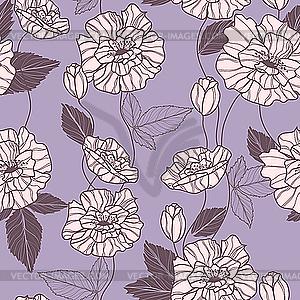 Nahtloses Muster mit Mohnblüten - Vektor-Illustration