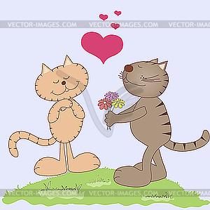 Zwei Katzen in der Liebe - Vektor-Clipart / Vektorgrafik