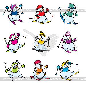 Schneemänner Skifahrer - Stock Vektor-Clipart