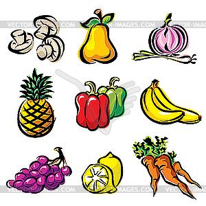 Obst und Gemüse - Clipart-Bild