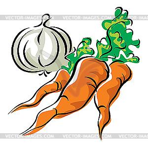 Karotten und Knoblauch - Vektor-Design
