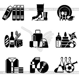 Icons für Waren im Supermarkt - Vektor-Bild