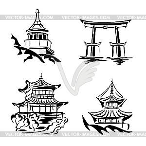 Set von asiatischen Tempeln - Vektor-Clipart EPS