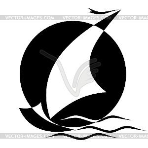 Segel - schwarzweiße Vektorgrafik