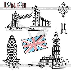 Londoner Wahrzeichen - Vector-Bild