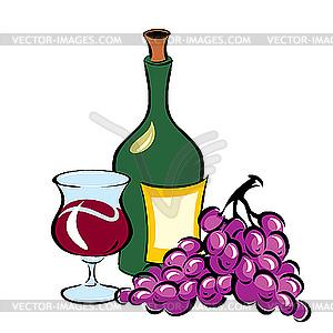 Wein und Traube - Vektor-Clipart / Vektorgrafik