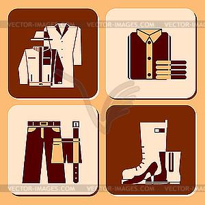 Icons von Bekleidung - vektorisierte Abbildung