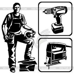 Arbeiter und Werkzeuge - Vector Clip Art