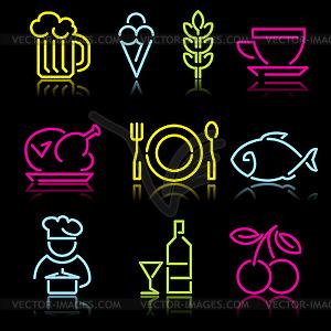 Linien-Icons von Lebensmitteln - Vektor-Clipart