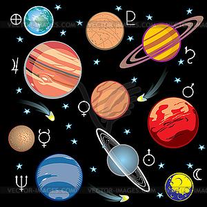 Set Planeten Symbole - vektorisierte Grafik