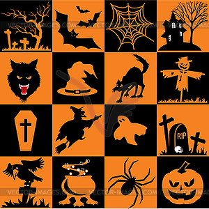 Set von Halloween-Symbolen - Vector-Clipart