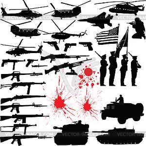 Militärische Silhouetten - Vector-Abbildung