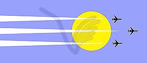 Flugzeuge im Himmel mit Sonne - Vektor Clip Art