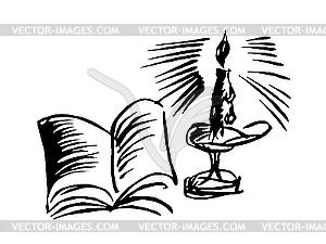 Kerze mit Buch - Vektor-Abbildung