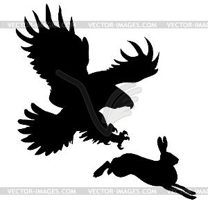 Silhouette des gefräßigen Vogels angreifend Hase - Vector-Design