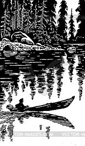 Mensch auf dem Boot - vektorisiertes Bild