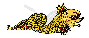 Darstellung der mythologischen Fisch - Vector-Illustration
