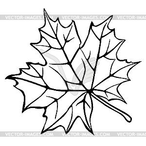 Силуэт кленового листа - векторное изображение