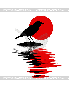 Silhouette des Vogels am Stein im Wasser - Vector-Clipart