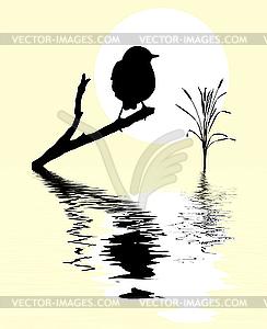 Kleiner Vogel auf dem Zweig über Wasser - Klipart
