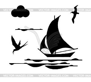 Silhouette Des Segelschiffes - vektorisierte Abbildung