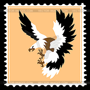 Silhouette des gefräßigen Vogels auf einer Briefmarke - Vektor-Illustration