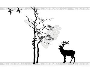 Silhouette des Hirsches in der Nähe von Baum - Vektor-Design